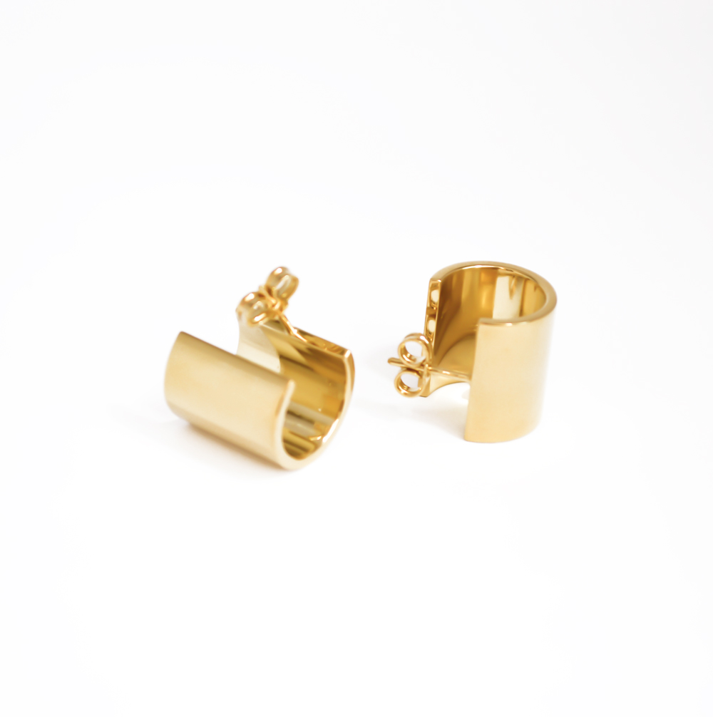 Simple sterling silver earrings with gold