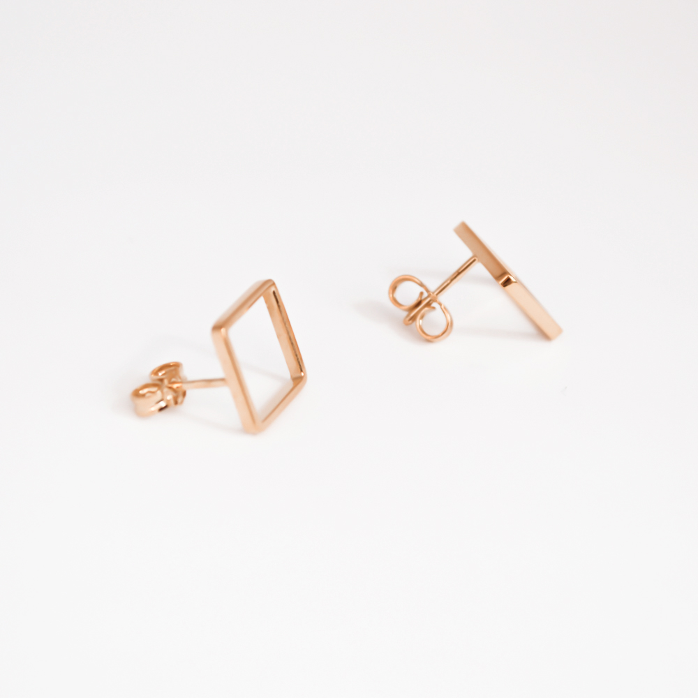 Silver rose gold earrings square shaped