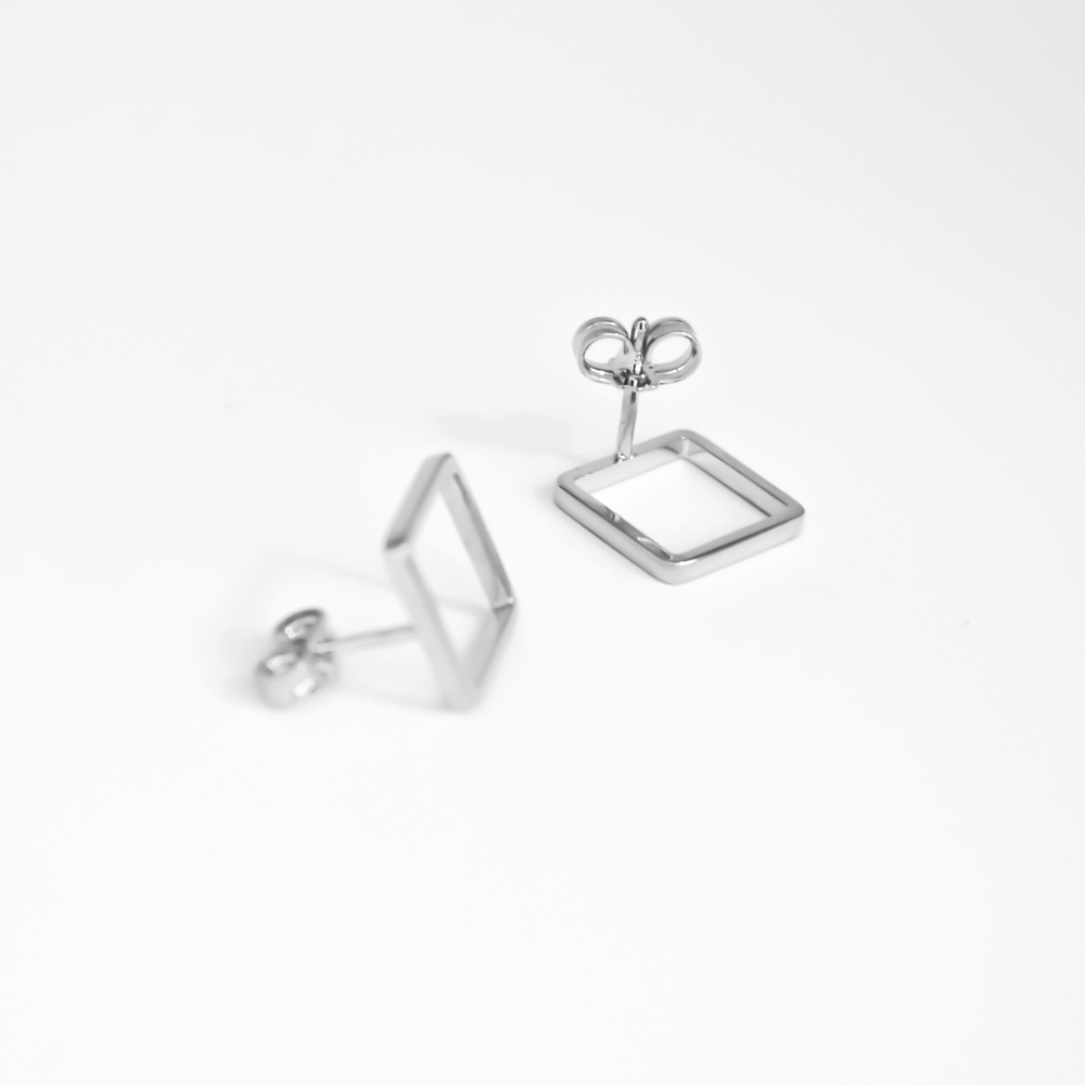 Minimalist simple silver classy square earrings
