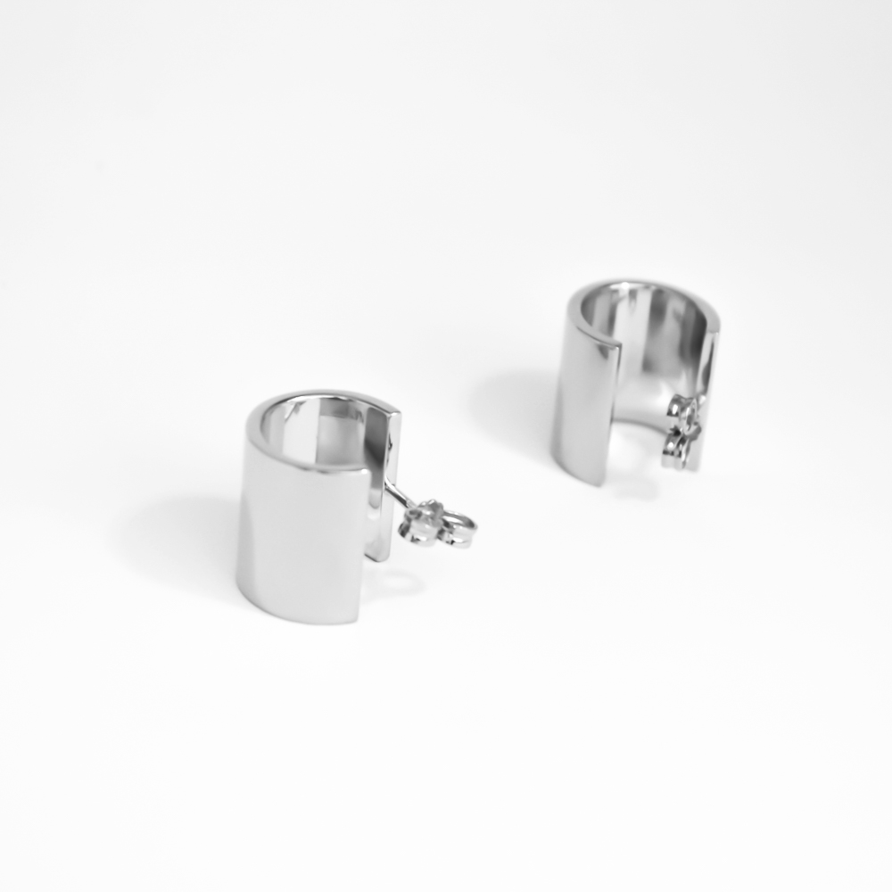 Massive sterling silver earrings with rhodium vermeil